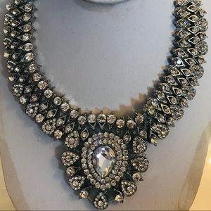 Silver Crystal Bib Necklace